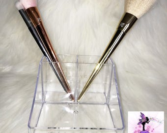 Clear Acrylic 3 Conpartment Makeup Brush Holder (Brushes Not Included) | Designer Inspired