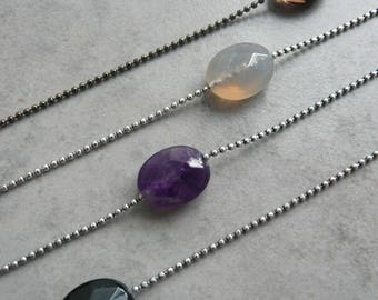 Natural stone and brass STONE necklace