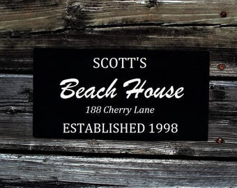 Custom BEACH HOUSE sign, established sign, black and white, custom personalized colors, lake house sign, cottage, name sign, vacation sign