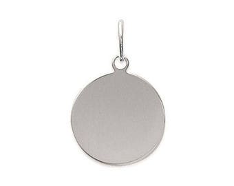 Customize 17 mm engraved medal pendant sterling silver