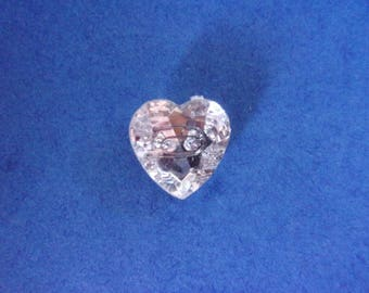 """Button in the shape of heart """"rhinestone"""" effect, 2 holes - 13mm x 14mm"""