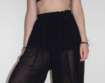 Mesh/ Sheer Harem Knee length Trousers