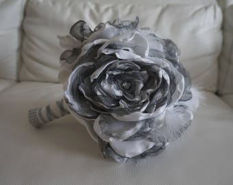 Bridal bouquet fabric grey peonies