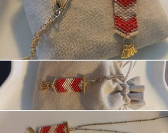 Woven pendant necklace with Pearl miyuki