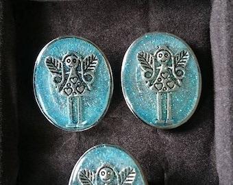 new! my creation set earrings vintage resin ring