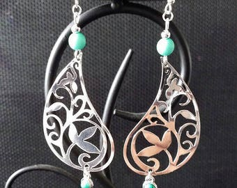"""Arabesque of leaves"" earrings 7 cm"