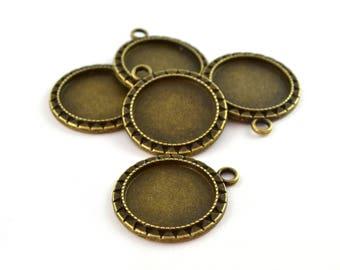 5 pendants edged raw brass round Sun bronze 20mm cabochon