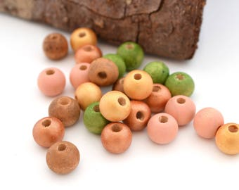 Mix of 25 beads copper, gold, green, peach and brown round wooden 8 mm