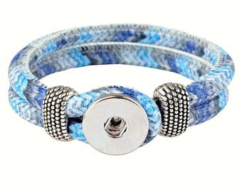 Bracelet / Eco leather Doublebeads Support. for 1 snap (M) - Blue