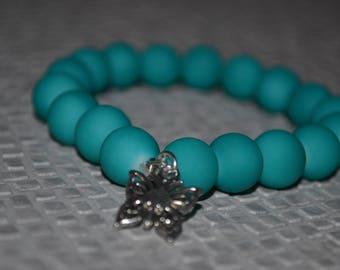 Elastic bracelet - acrylic beads - Turquoise