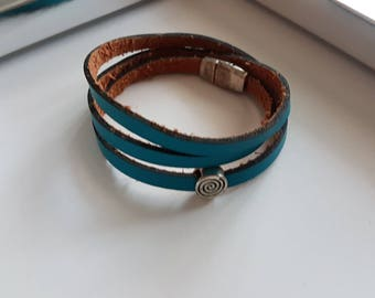Bracelet Triple towers leather Turquoise - all colors