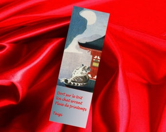 Set of two bookmarks with cat and haiku: spring rain