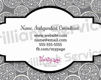 Thirty-One Gifts Business Cards -Digital File- Woodblock Whimsey