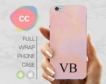 iPhone 8 Case - Custom Personalised Initials Pink Phone Case - iPhone 7 Case - iPhone 7 Case - iPhone 6, 5S - Samsung S6, S7, S8 - PC-315