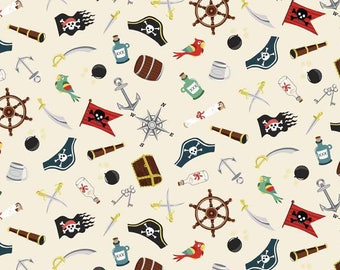PIRATES fabric cotton patchwork PIRATES and x50cm accessories