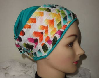TURBAN CHEMO cap for the challenge to the way of SEURAT in JERSEY TURQUOISE and printed MULTICOLOR way POINTILLISM to reverse all
