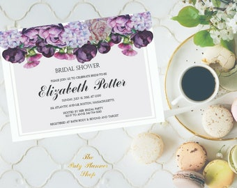 Bridal Shower Invitation With Watercolor Flowers,Bridal Shower Party Invitation, Watercolor Peonies Printable Invitation DIGITAL FILES