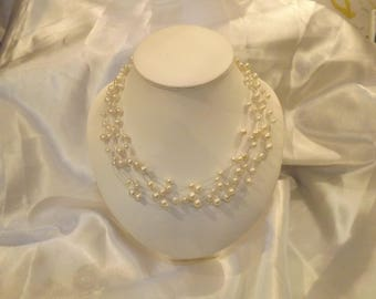 Ivory pearls bridal necklace