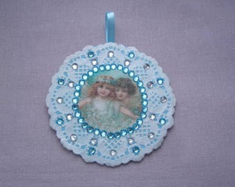 Wall decor for nursery - two little angels - doily paper lace - blue and clear rhinestones