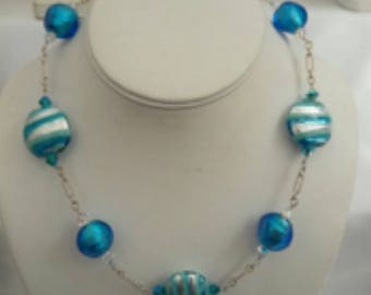 Murano glass necklace- blue