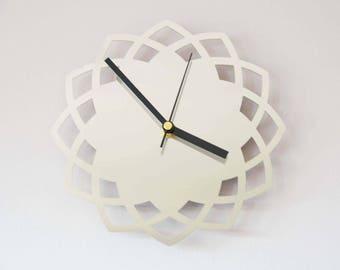 Laser Cut Stainless Steel Quartz Clock Small