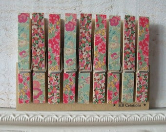 9 decorated linen (No. 62) Liberty clips