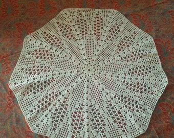 Large white crochet cotton doily