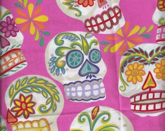 Quilting Fabric printed with Cavaleras ( skulls ) like in Mexico