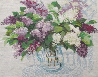 The scent of spring. A bouquet of lilacs. Embroidered picture of a cross. Cross-stitch. The painting as a gift.