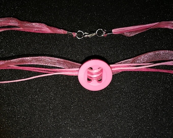 321. Multi-strand Pink Button Choker/Necklace