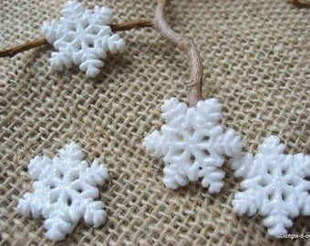 10 small snowflakes resin table pourdeco or scrapbooking