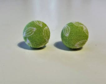 Light Green Leaf Fabric Button Earring