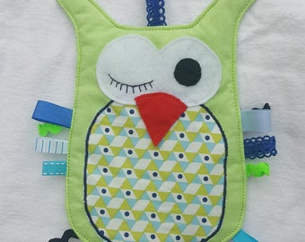 """Doudou flat labels """"/ OWL"""" blue and lime"""