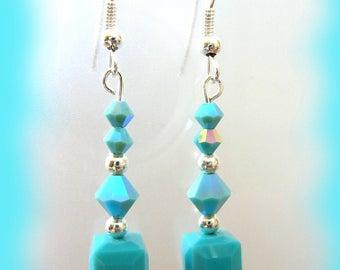 turquoise swarovski crystal earrings