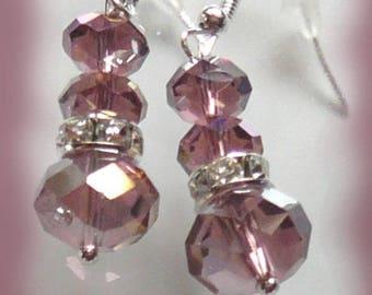 Amethyst and rhinestone crystal earrings