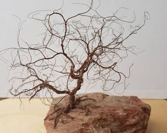 Hand made wire tree on unique rock, made to order, home decor, decoration, gift