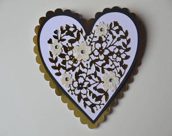 Engraved gold heart easel card and flowers lace birthday, congratulations