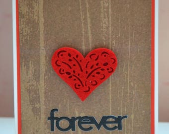 Saint Valentine, love etched into the wood card