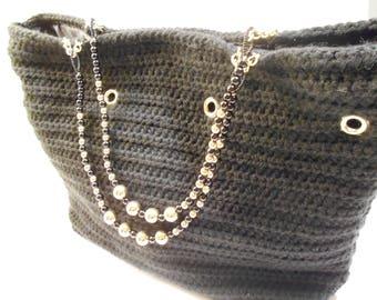 Black Crochet Handbag with Gold Ring Handles
