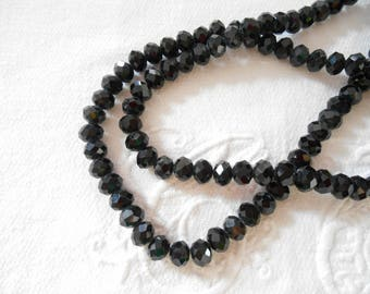 x 25 Crystal 4 mm x 3 mm black faceted beads.