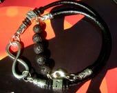 BRACELET Homme INFINI argent, Bracelet home cuir, bracelet personnalisé, bracelet perles pierre lave diffuseur, cadeau homme Noel