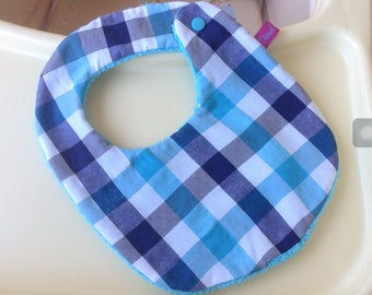Blue gingham print bib and absorbing Terry