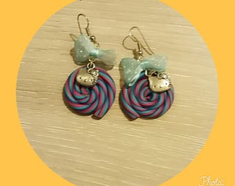 blue purple polymer clay earring