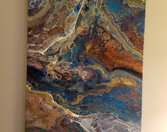 "Stunning 24"" x 36"" Acrylic Pour (Resigned No 2.)- Jewel tones with beautiful cells"