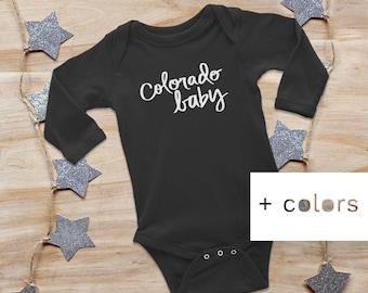 COLORADO BABY, longsleeve baby onesie, baby bodysuit, colorado baby gift, baby shower gift, new baby gift, unisex onesie, newborn onesie