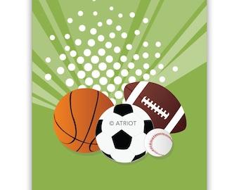 """Basketball football soccer and baseball Printable """"Balls"""" wall decor - Print Art - digital download Art - balls for boy's Room - Nursery Art"""