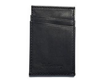 Slim Front Pocket Leather Wallet with Side Cash Slot