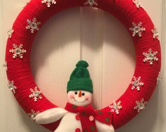 Red Snowman Wreath