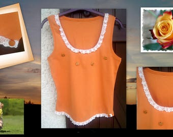 Summer TOP * orange and lace