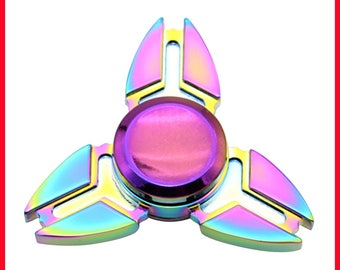 Tri-Spinner Fidget Toys Pattern Hand Spinner Aluminum Alloy Fidget Spinner for Autism and ADHD Kids/Adult Funny Anti Stress